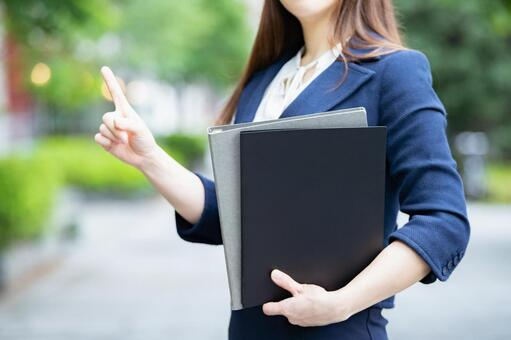 Career woman with file