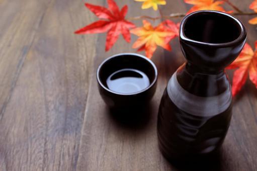 Sake and autumn leaves with sake