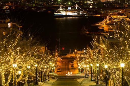 Hakodate Night view · Yawata slope and communication boat