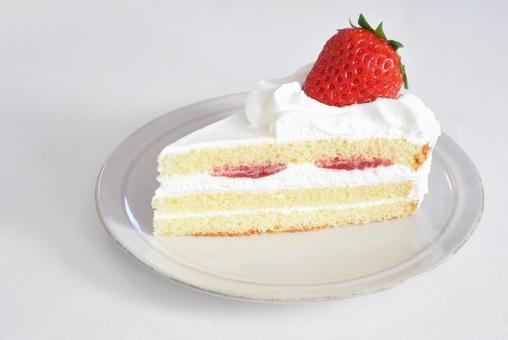 One strawberry shortcake, white background