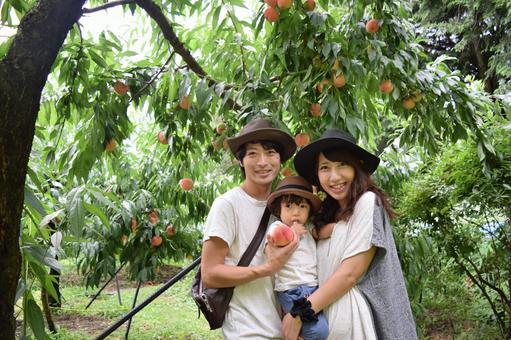 Family photo at peach farm