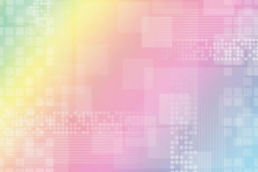 Rainbow-colored texture with continuous circles, squares and lines