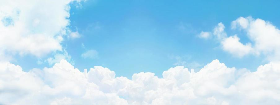 Sunny day sky White clouds and light blue sky Copy space Panorama background