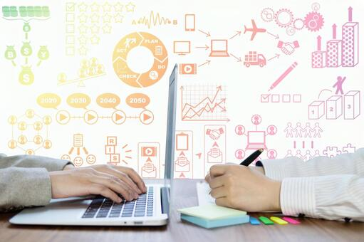 Business strategy/marketing meeting woman-two people-computer work and hand image with pen Colorful