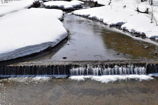 Northern snow melting landscape