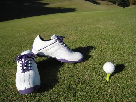 Golf shoes / golf ball / tea