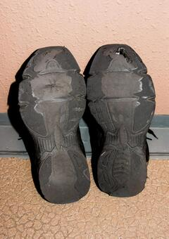 Worn-out jogging shoes