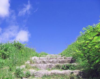 Stone steps blue sky