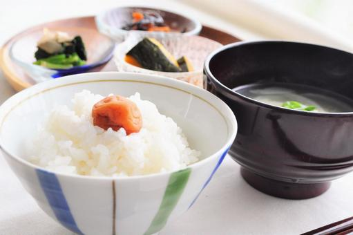 Japanese set meal of new rice and miso soup