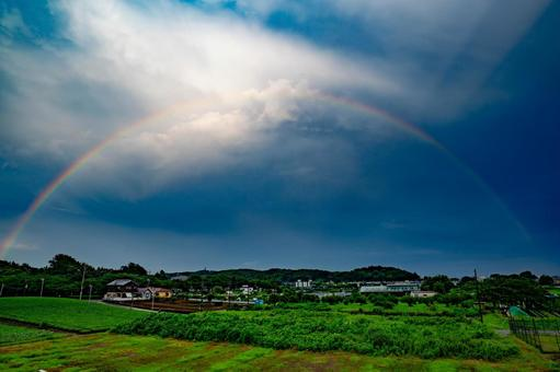 Rainbow in the countryside of Tokyo