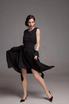 Female model fashion portrait (grey back) 126