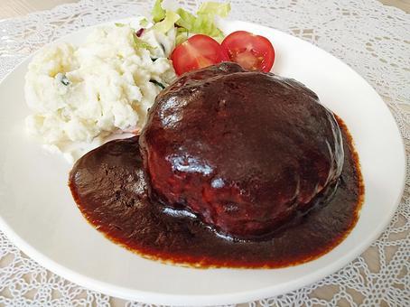 Hamburger with demiglace sauce