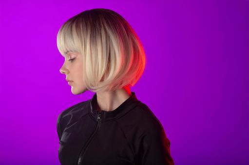 Cyberpunk woman profile
