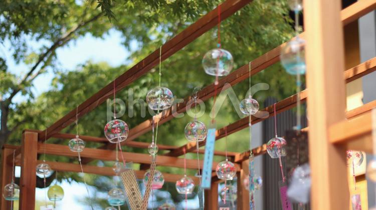愛知 風鈴のある風景 風鈴 納涼 夏 日中 風 風鈴複数 夏風の写真