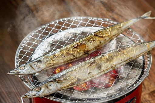 Charcoal grilled saury autumn image