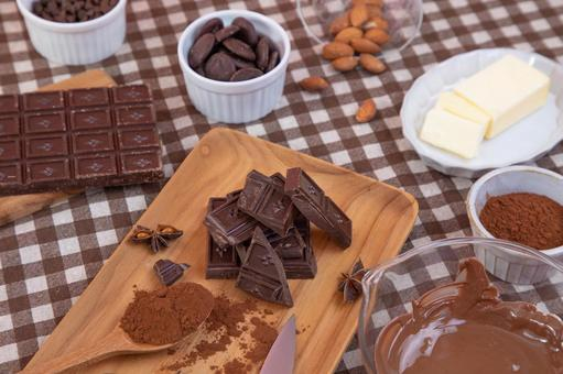 Image of ingredients when making chocolate confectionery