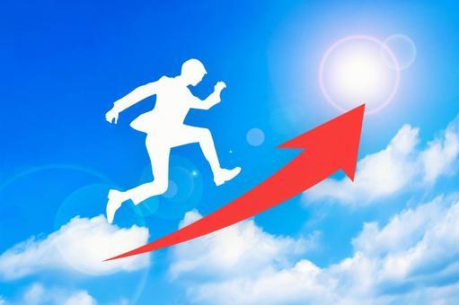 Running businessman step up