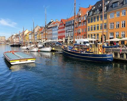 Colorful views of Nyhavn in Copenhagen, the capital of Denmark