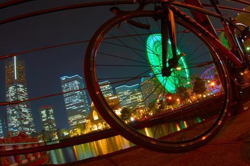 Night view of Minato Mirai and road bike