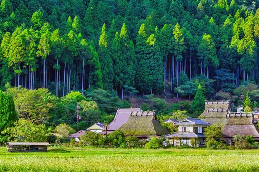 Original scenery of Japan Beautiful mountain village Thatched roof village