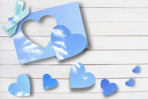 Heart-shaped sky and white wood frame Frame Father's Day image