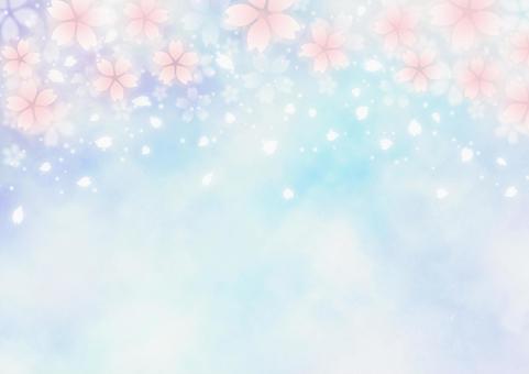 환상적인 벚꽃 눈보라 봄 배경 소재 (파랑)