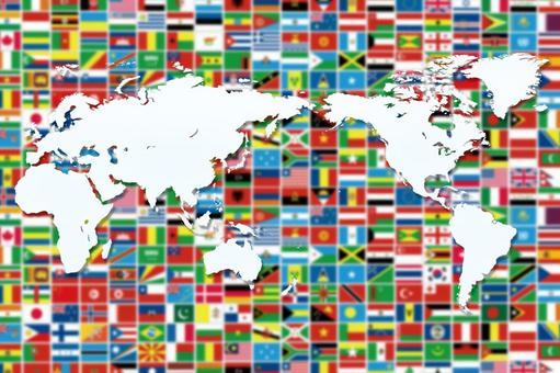 World Map 8 Flag Background