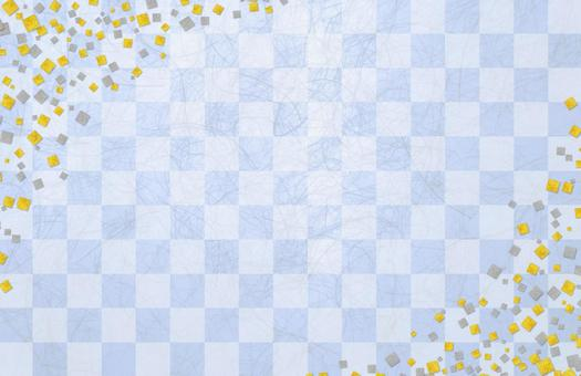Japanese paper gilt silver foil checkerboard - blue