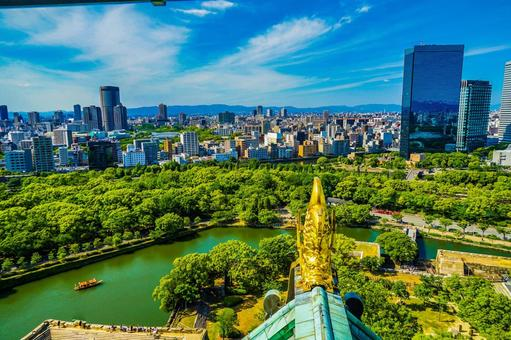 Landscape from the castle tower of Osaka Castle