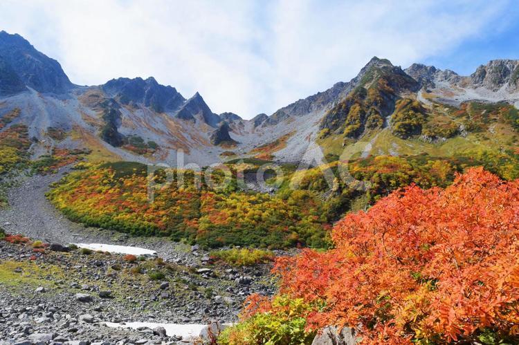 穂高連峰の紅葉1の写真
