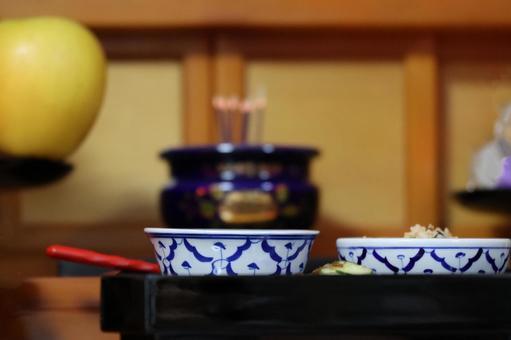 Buddhist altar offering meals
