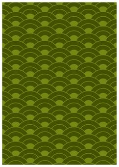 Japanese Pattern Texture Aoumi Wave Green
