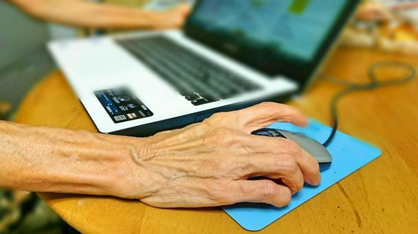 Elderly people and laptops