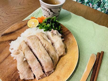 Khao Man Gai, an Asian dish using chicken.