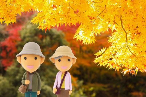 Clay art Autumn leaves and old couple