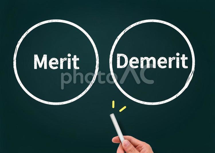 メリットとデメリットの黒板イメージの写真