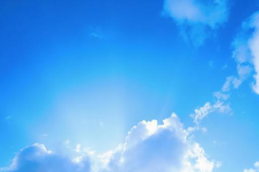 藍天白雲,有一個標題空間天空背景素材