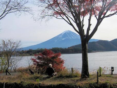 Fuji, lake and old man