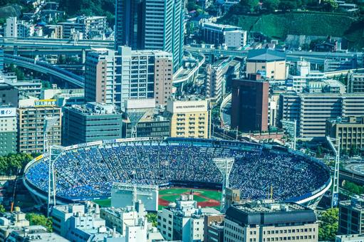 Yokohama Stadium from the Yokohama Landmark Tower