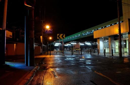 At night after the rain station