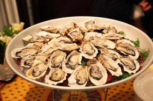 Fresh oysters in a large plate