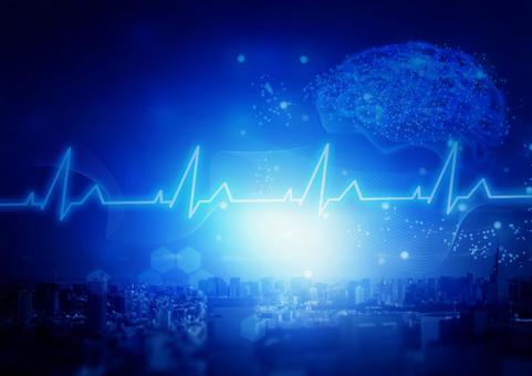 藍色城市景觀與醫學與人工智能形象
