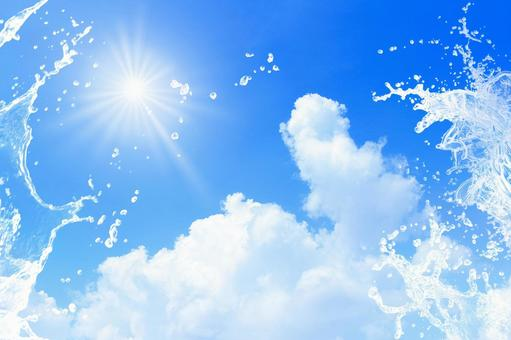 Cumulonimbus clouds in the summer sky with vigorous splashes ・ Free background image ①