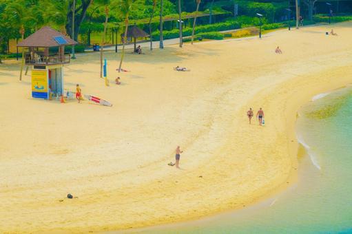 싱가포르 센토사 섬의 리조트 비치