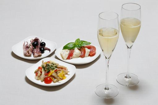 Meals with champagne