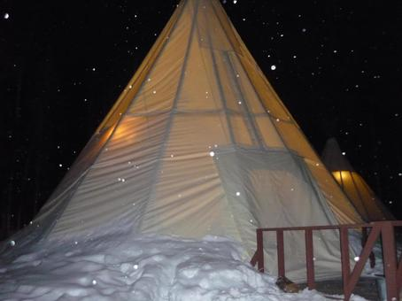 In a warm tent in the snow