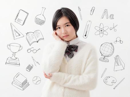 Image of high school girls thinking Study sketch