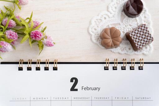 February calendar chocolate and flowers