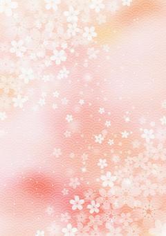 Sakura _ pale pink background _ vertical type