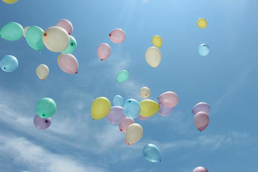 Colorful balloon and blue sky